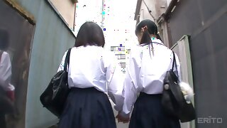 Asami Tsuchiya & Karen Haruki approximately Fairy Enslavement Down An obstacle Rooftop - JapansTiniest